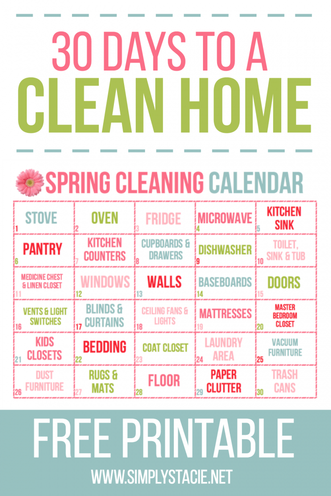 30 day spring cleaning calendar simply stacie What month is spring cleaning