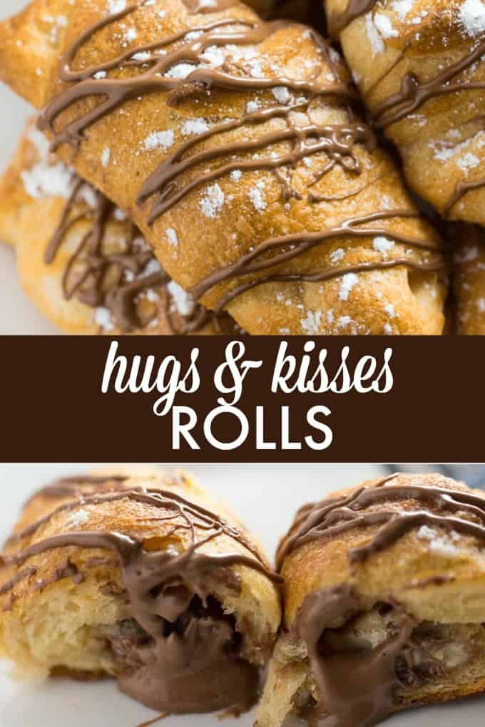 Hugs & Kisses Rolls - Imagine melted Hershey's Hugs and Hershey's Kisses tucked inside a warm crescent roll. Add a little powdered sugar and chocolate drizzle and you have yourself a heavenly treat! The perfect indulgence.