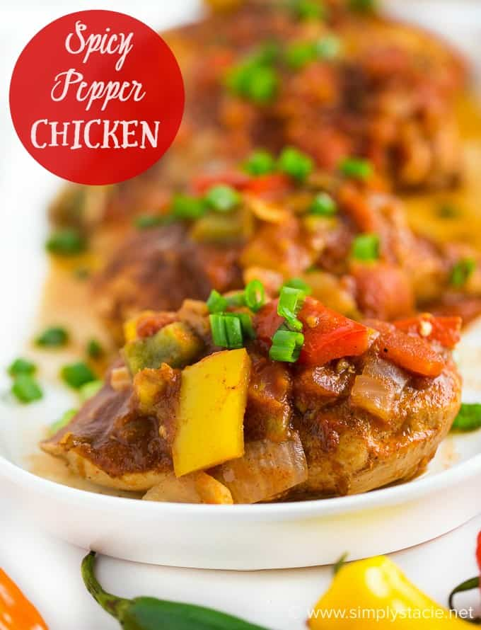 Spicy Pepper Chicken - Add some heat to your plate tonight! This healthy baked chicken dish is covered in 4 types of peppers for some serious spice.