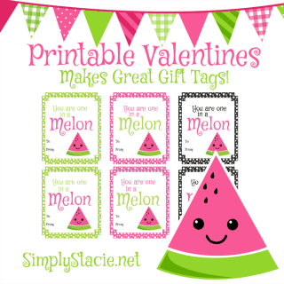 Watermelon Printable Valentine's Day Cards