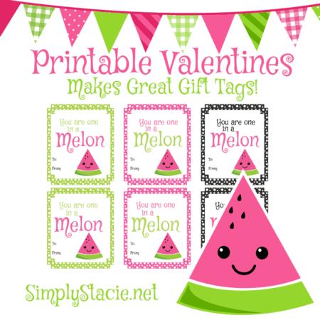 Watermelon Printable Valentine's Day Cards