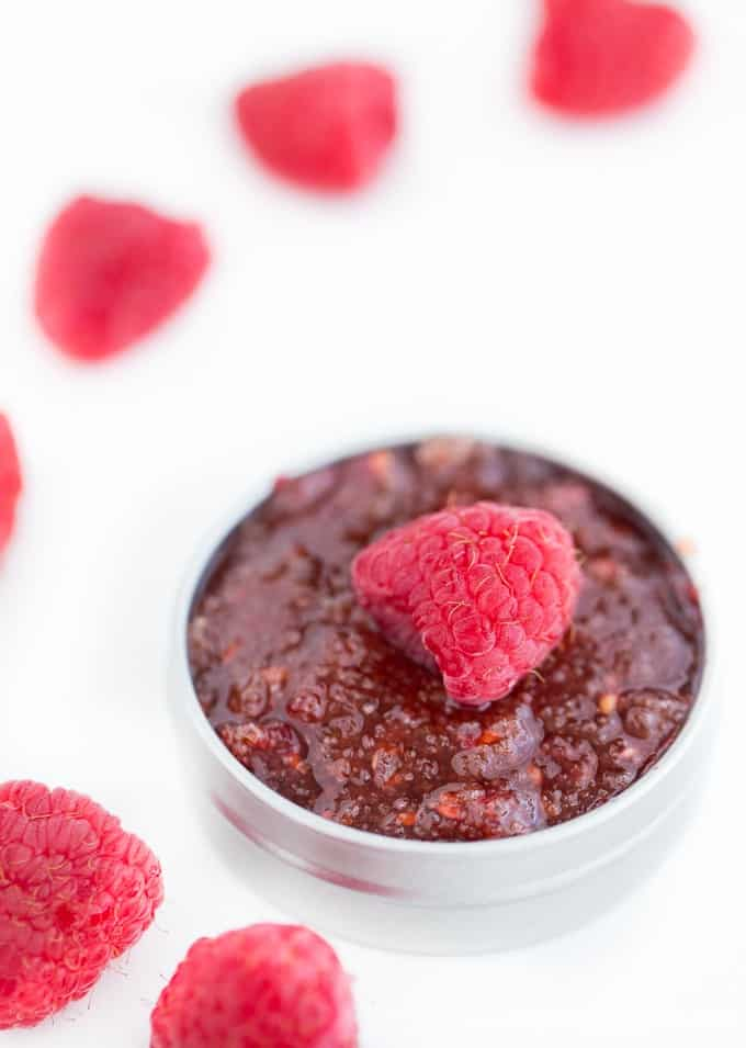 Raspberry Lip Scrub - Get soft, kissable lips with this simple DIY beauty recipe. It's made with three natural ingredients that you may already have in your home!