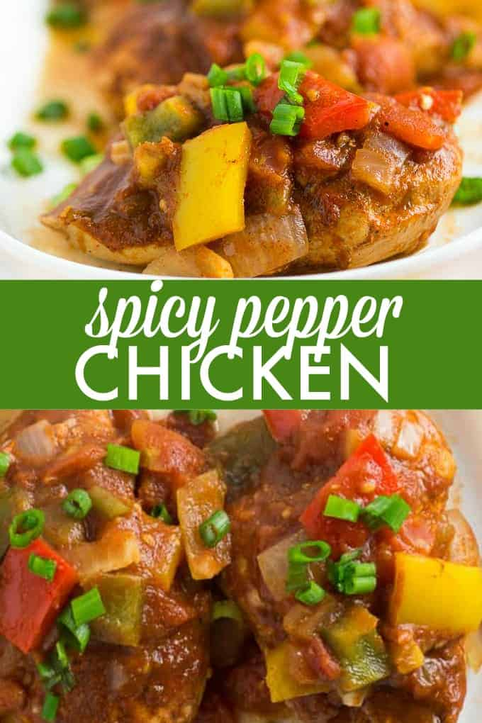 Spicy Pepper Chicken - Prepare for an explosion of flavour! This healthy and mouthwatering chicken recipe has four types of peppers plus spices. Enjoy this meal without the guilt.