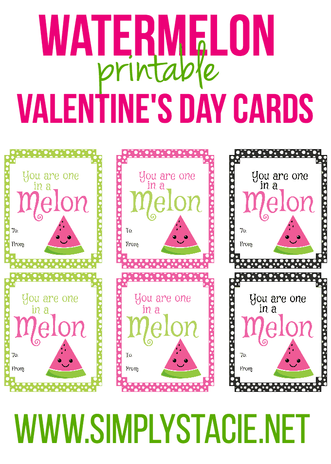 Watermelon Printable Valentine's Day Cards - Unique, fun and free!