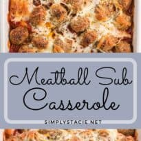 Meatball Sub Casserole - Made with convenient ready-made ingredients, this casserole tastes just like a meatball sub from your favourite sub shop!