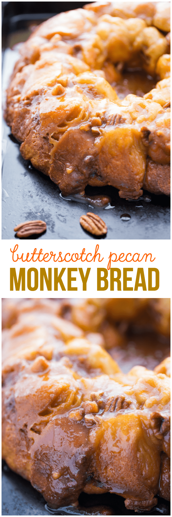 Butterscotch Pecan Monkey Bread - Ridiculously easy and sticky sweet! This monkey bread is slathered in a warm butterscotch pecan sauce and is so decadent.