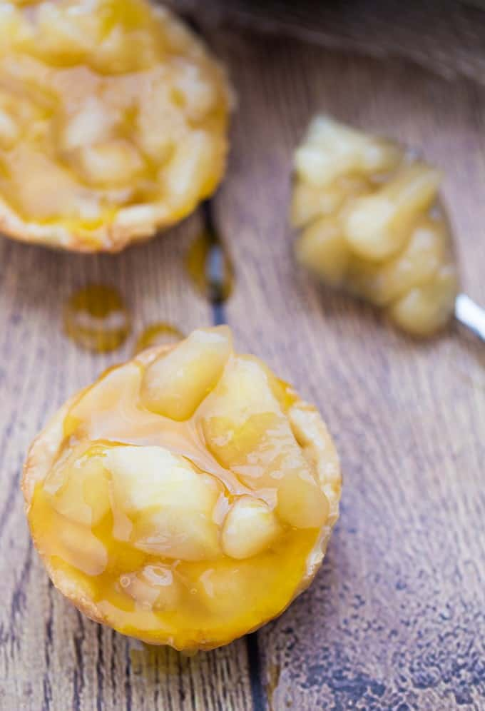 Caramel Apple Tarts - Sticky, sweet and easy to make with only three ingredients. This one's for my caramel loving friends!