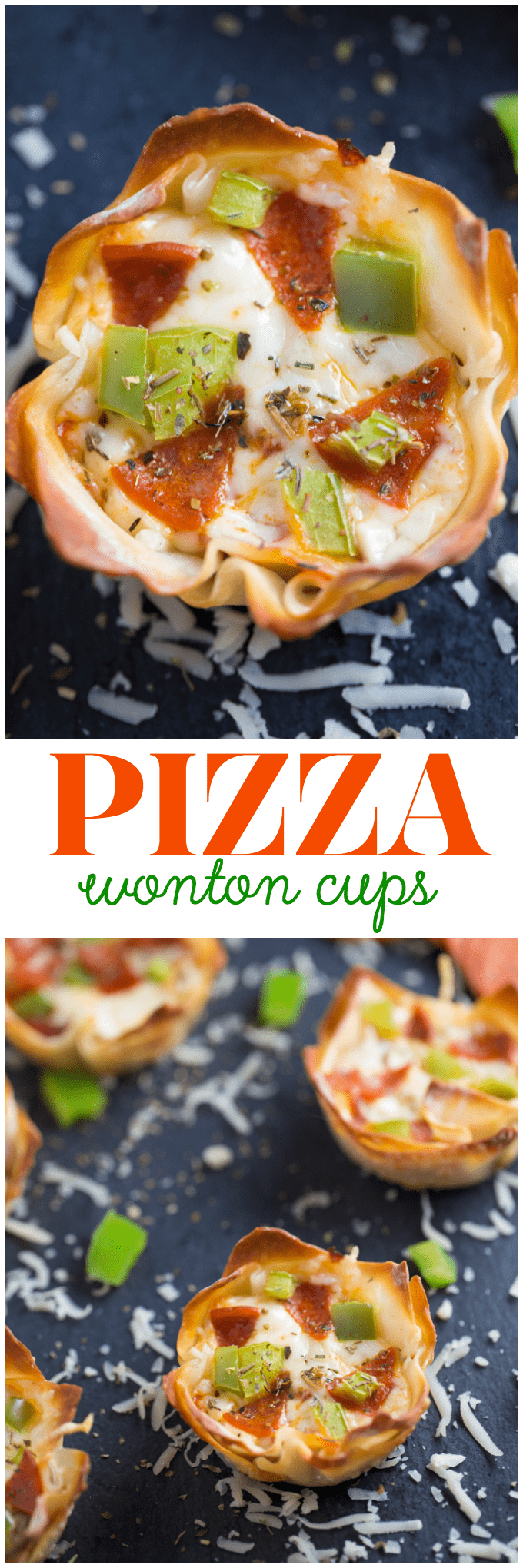 Pizza Wonton CupsPizza Wonton Cups Recipe - East meets West in this simple crunchy appetizer. A crispy wonton is filled with cheesy pizza goodness with any toppings you want!
