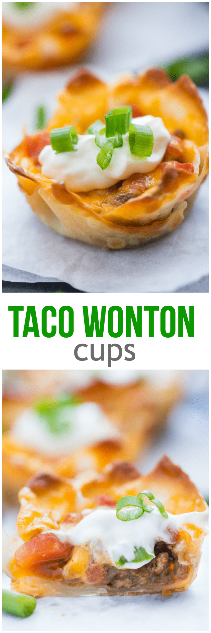 Taco Wonton CupsTaco Wonton Cups - Make this yummy appetizer in a muffin tin with wonton wrappers! Top the seasoned taco beef with your favourite fresh toppings and melted cheese and watch these crispy treats disappear in a flash.
