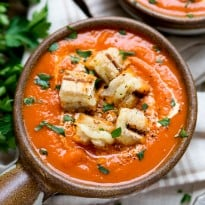 Creamy Tomato Soup with Cheese Toast Croutons