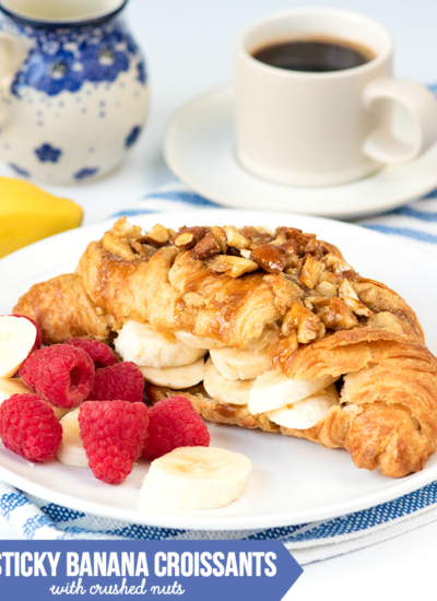 Sticky Banana Croissants with Crushed Nuts