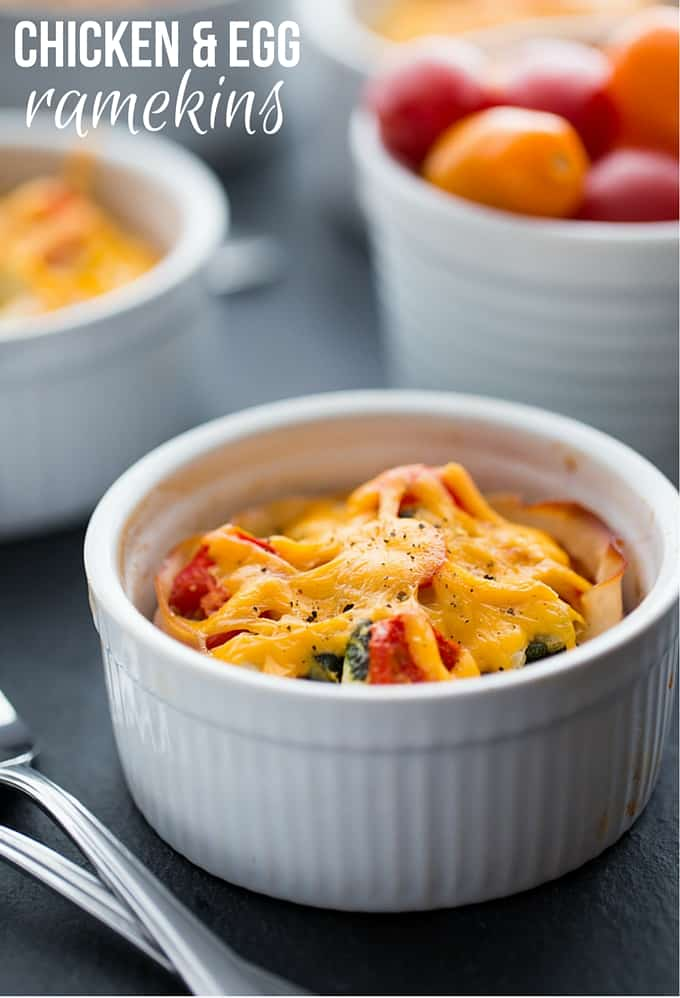Chicken and Egg Ramekins - A brunch recipe your family will love! Chicken, eggs, cheese and fresh basil are baked to perfection in a ramekin.