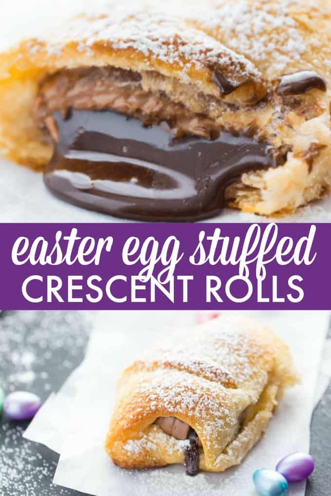 Easter Egg Stuffed Crescent Rolls - A deliciously awesome way to use up chocolate Easter eggs! Bake up these treats for your family in a matter of minutes.