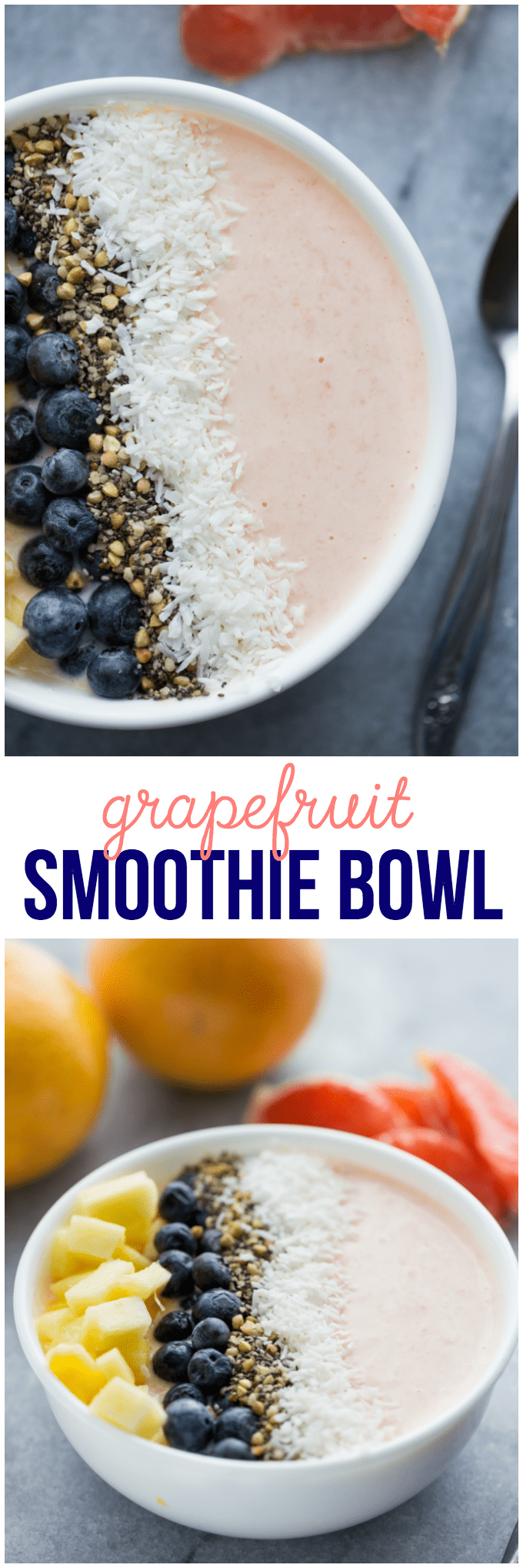 Grapefruit Smoothie Bowl - This easy smoothie bowl recipe is healthy and naturally sweet way to kickstart your mornings. It's made with creamy blend of Sweet Scarletts Texas Red Grapefruit, Greek Yogurt, pineapple and a banana. Top it with some fresh blueberries, seeds and coconut. Yum!