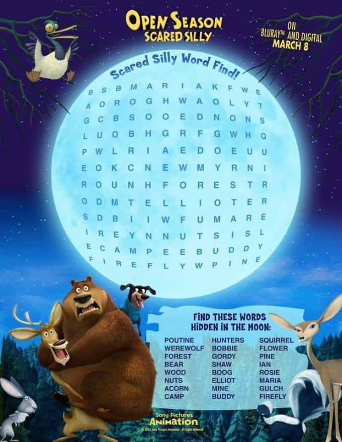 Open Season: Scared Silly Printables