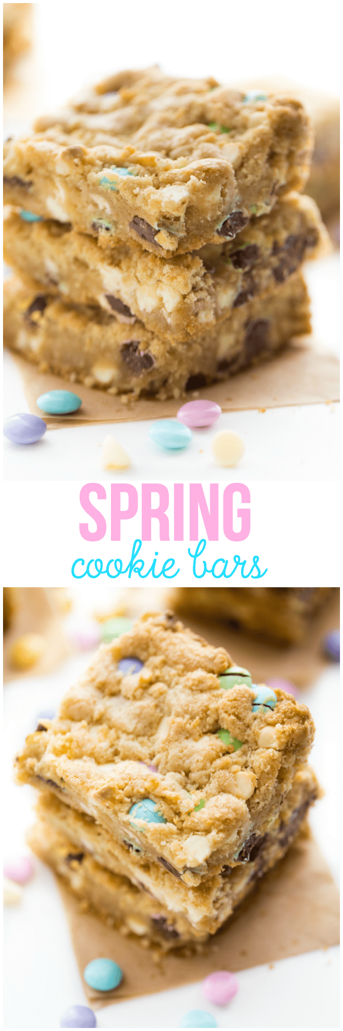 Spring Cookie Bars - Sweet, chewy cookie bars baked to golden brown perfection! They are packed with yummy white chocolate chips and M&M's in pretty pastels.
