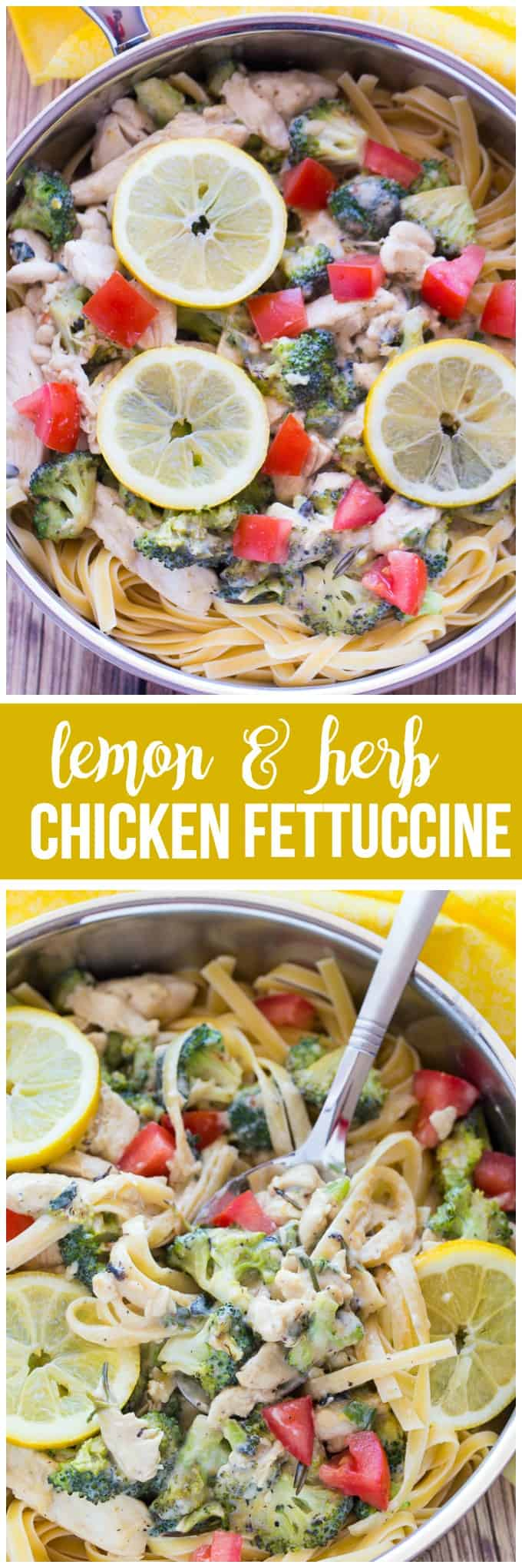 Lemon & Herb Chicken Fettuccine - Your family will love this fresh and healthy springtime meal! Fresh herbs, lemons and chicken in a creamy sauce are served over a bed of fettuccine. Delish!