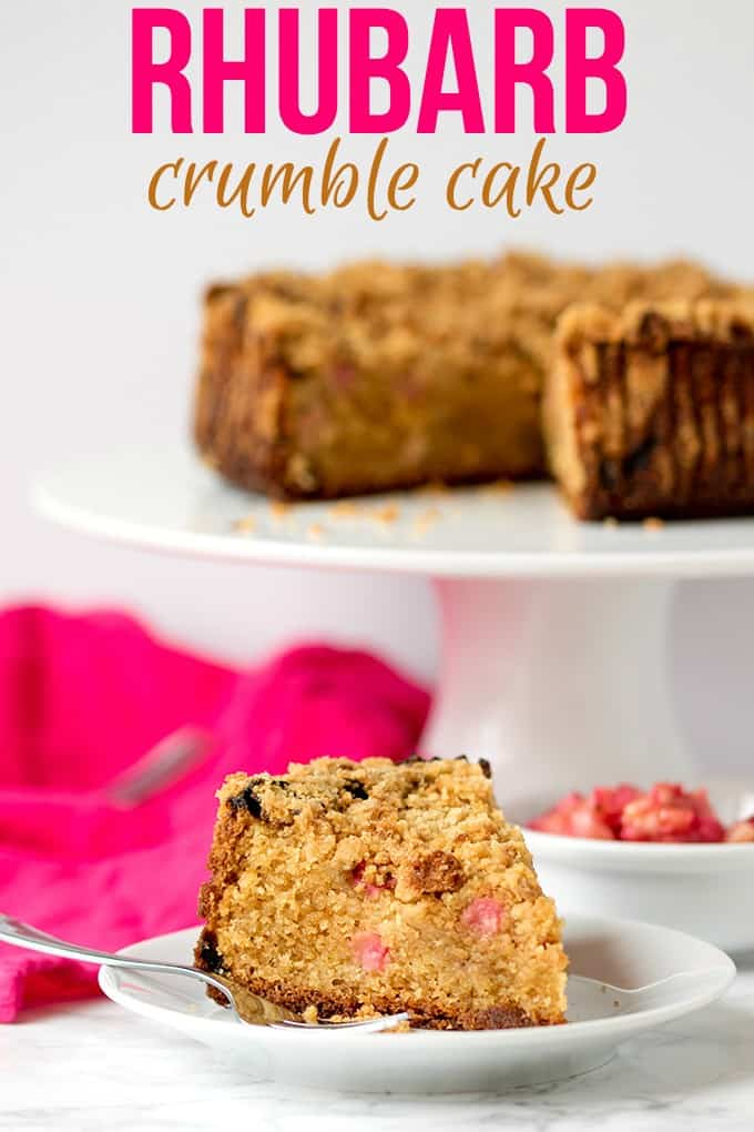 Rhubarb Crumble Cake - A moist and tender cake, dotted with pocket of sharp rhubarb and topped with a brown sugar streusel.