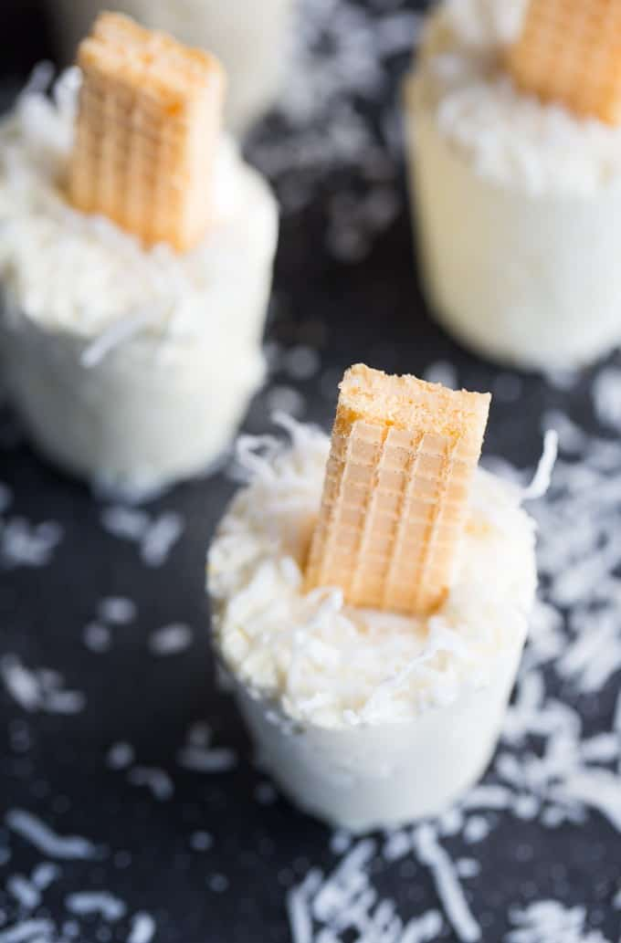 Coconut Creme Ice Pops - Cold, creamy and perfectly sweet! This summer treat tastes like a coconut cream pie.