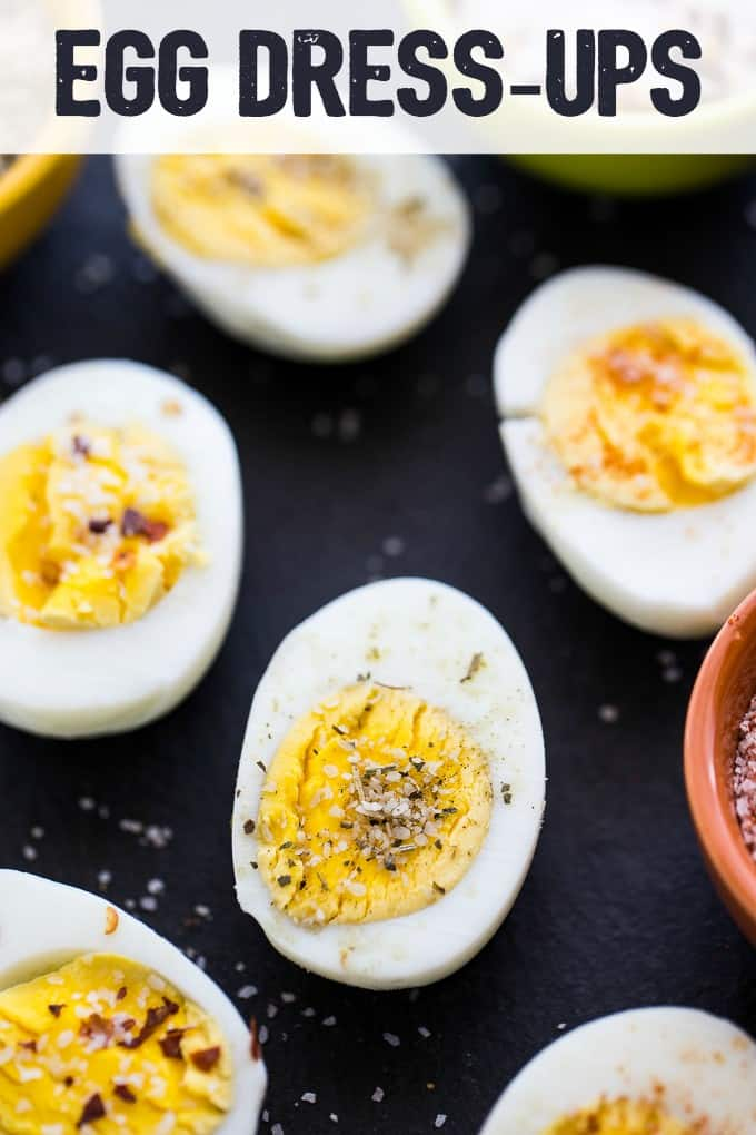 Egg Dress-Ups - Add an extra punch of flavour to your next batch of hardboiled eggs. Chili Salt, Herb and Garlic Salt and Paprika Salt makes this dish POP!