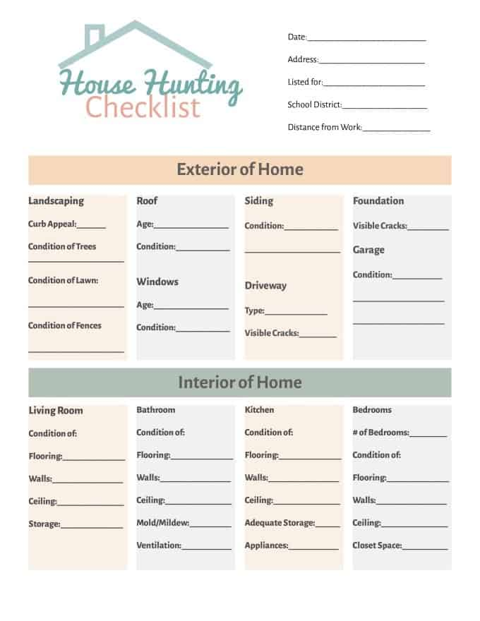 House hunting checklist simply stacie for Checklist for building a new house
