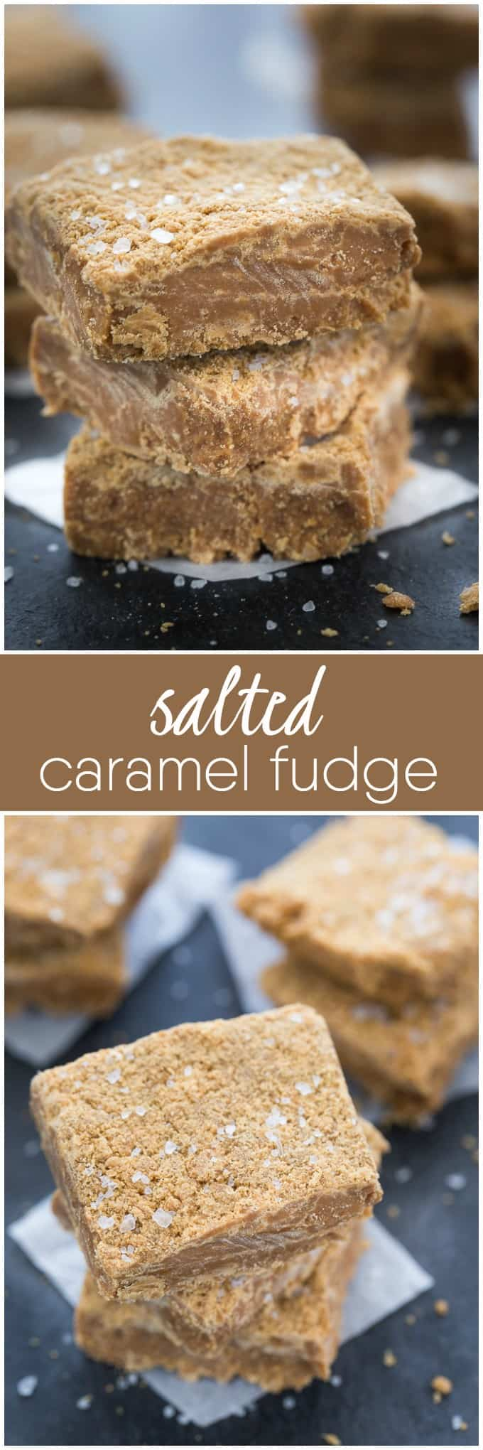 Salted Caramel Fudge - Salty and sweet collide! This rich homemade fudge recipe is the ideal salted caramel bite.