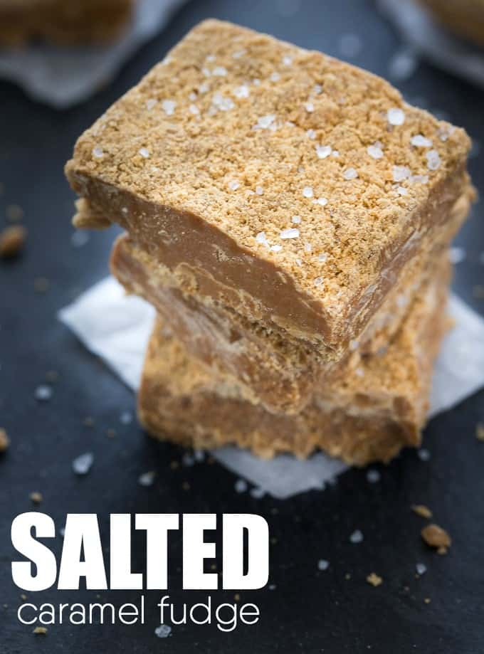 Salted Caramel Fudge - The perfect combination of sweet and salty. This decadent dessert will literally melt in your mouth!