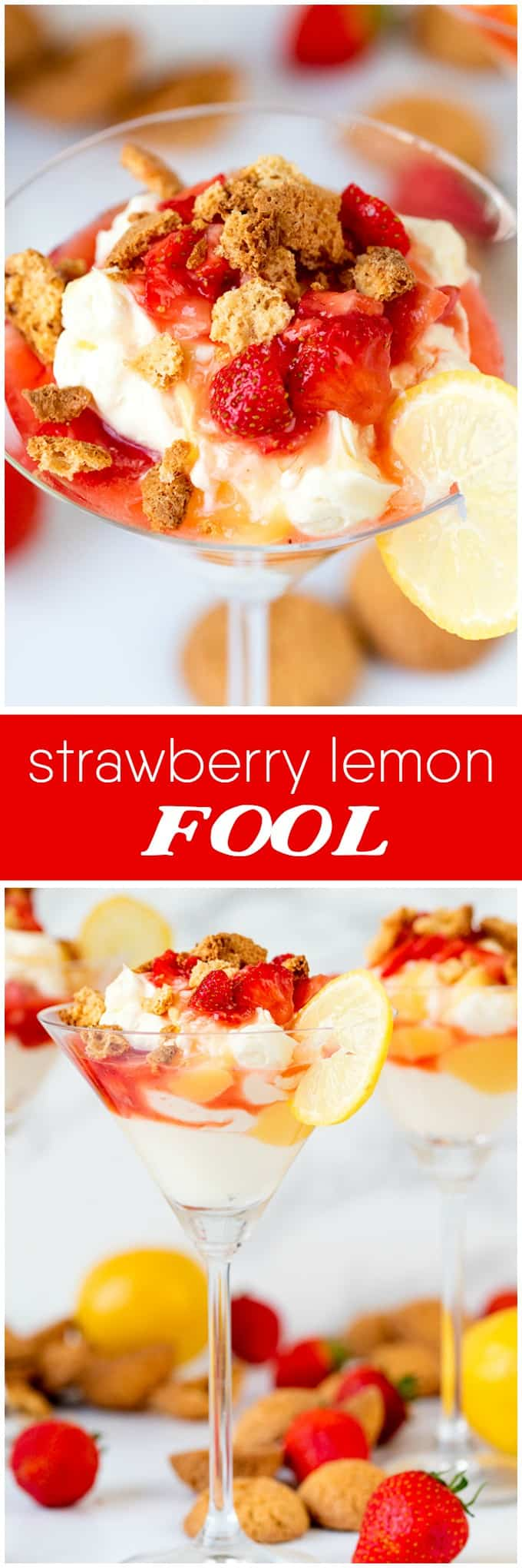 Strawberry Lemon Fool - Perfect for a summer party or BBQ! This luscious dessert is piled high with soft, sweetened whipped cream, dotted with juicy amaretto-spiked strawberries and tangy lemon curd and then topped with crushed amaretto biscuits.