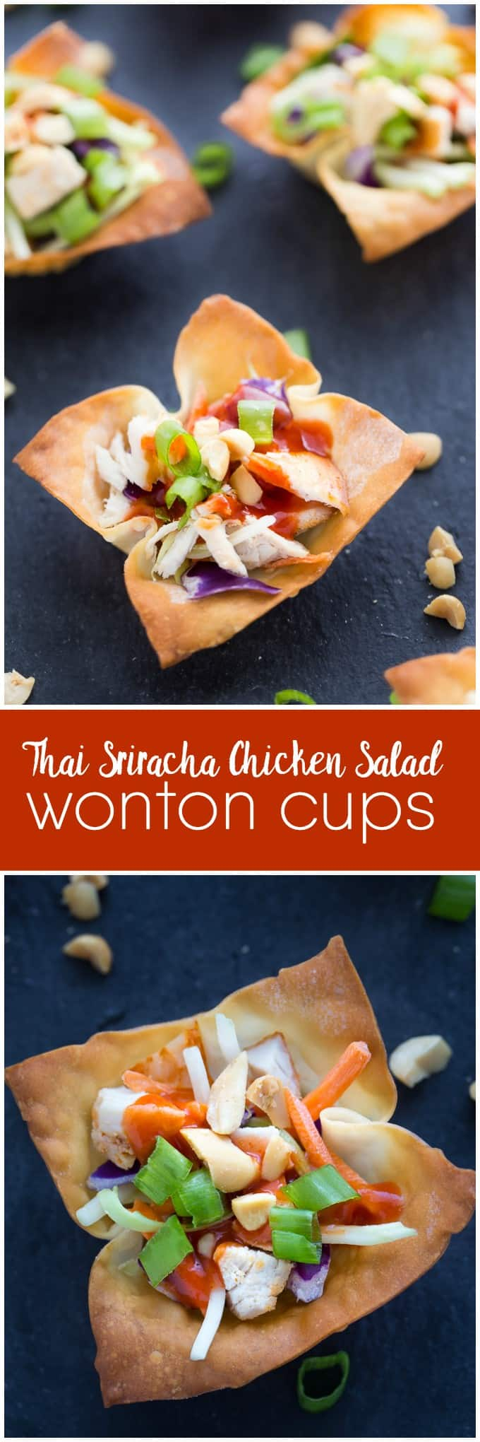 Thai Sriracha Chicken Salad Wonton Cups - Fresh, crunchy and spicy! Serve these yummy summer appetizers at your next BBQ.