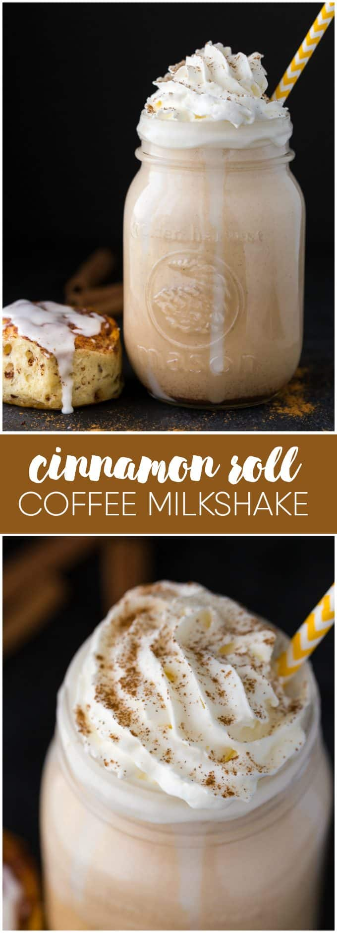 Cinnamon Roll Coffee Milkshake - Tastes just like a cinnamon roll! Super creamy, cold and delicious.