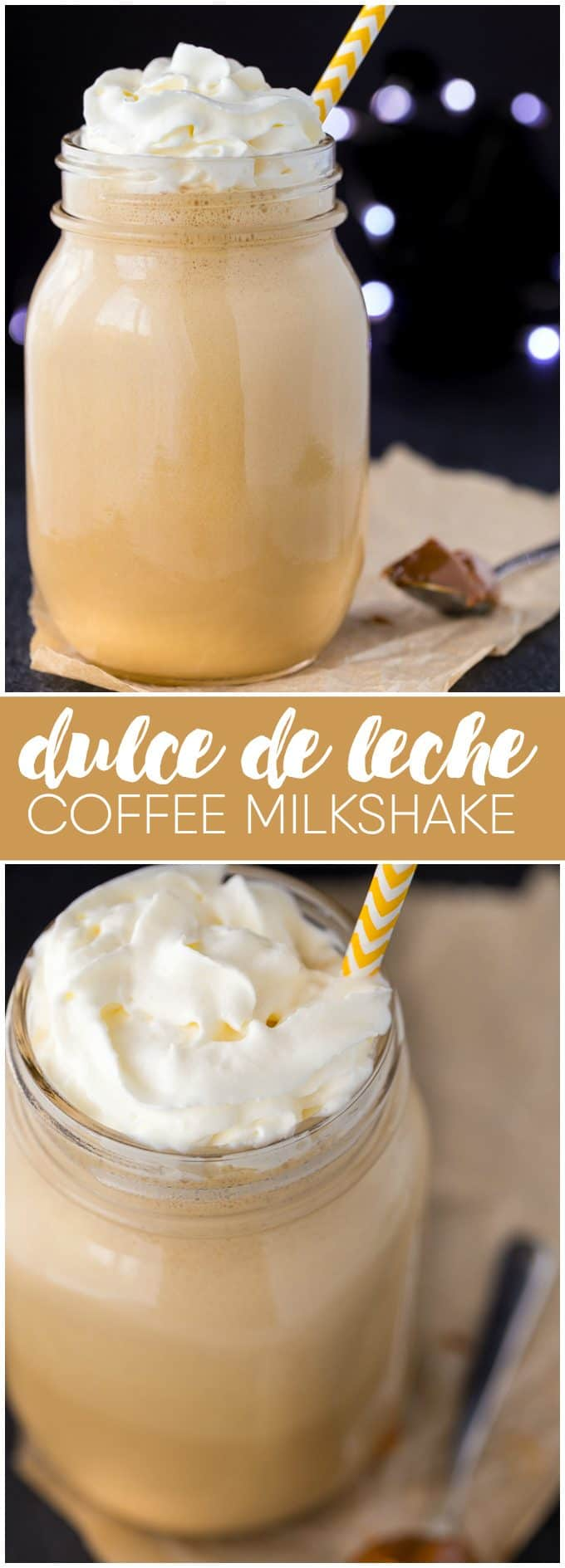 Dulce de Leche Coffee Milkshake - This mix of coffee and creamy milkshake with decadent Dulce de Leche flavour is a great way to cool down in the hot summer weather.