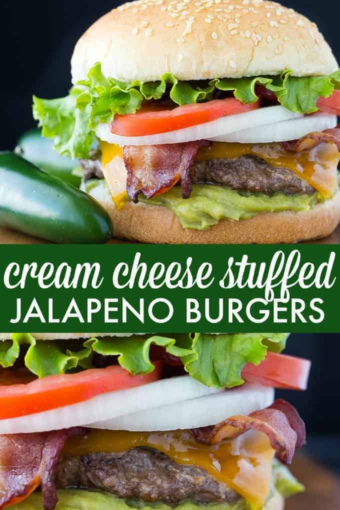 Cream Cheese Stuffed Jalapeno Burgers - Stuffed with a creamy, spicy and cheesy filling, this burger will light up your taste buds and make your mouth water!