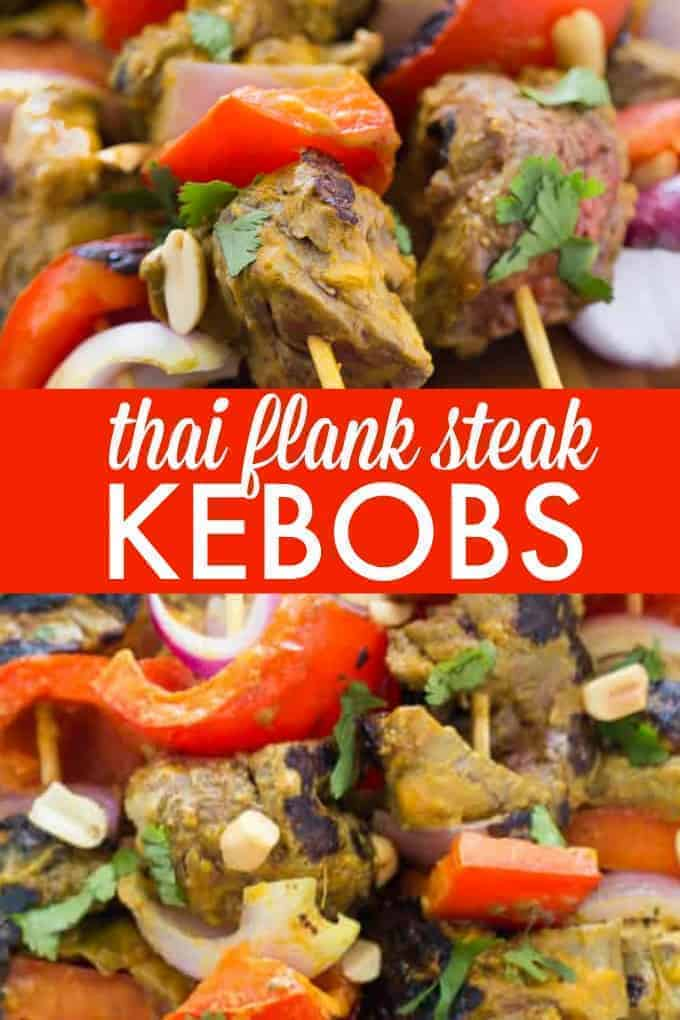 Thai Flank Steak Kebobs - Add a little Thai flair to your next barbecue with this mouthwatering nutty nibbles on a stick recipe. It's tender and juicy with the flavours of lime, chili and peanuts!