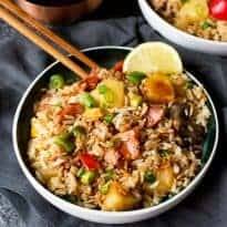 Hawaiian Fried Rice with Easy Sweet and Sour Sauce
