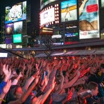 The crowd at YouTube FanFest in Yonge-Dundas Square