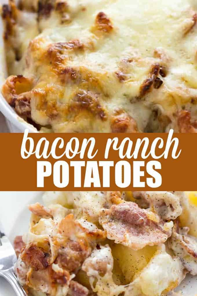 Bacon Ranch Potatoes - Soft, tender potatoes smothered in ranch sauce and loaded up with crispy bacon, caramelized onions and melted Swiss cheese. This comfort food recipe is a keeper!