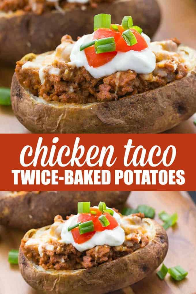 Chicken Taco Twice-Baked Potatoes - A delicious side your family will love! Potato shells are stuffed with seasoned chicken taco mixture and loaded with cheese and toppings.