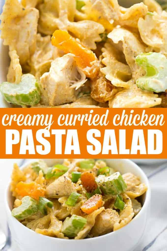 Creamy Curried Chicken Pasta Salad - Creamy, mildly spicy and absolutely delicious! Serve this summer side at your next backyard BBQ, picnic or potluck.
