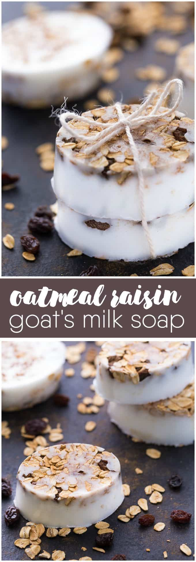 Oatmeal Raisin Goat's Milk Soap - This soap smells so good you'll almost want to eat it! Made with spicy blend of cinnamon and clove essential oil with oats and raisins.