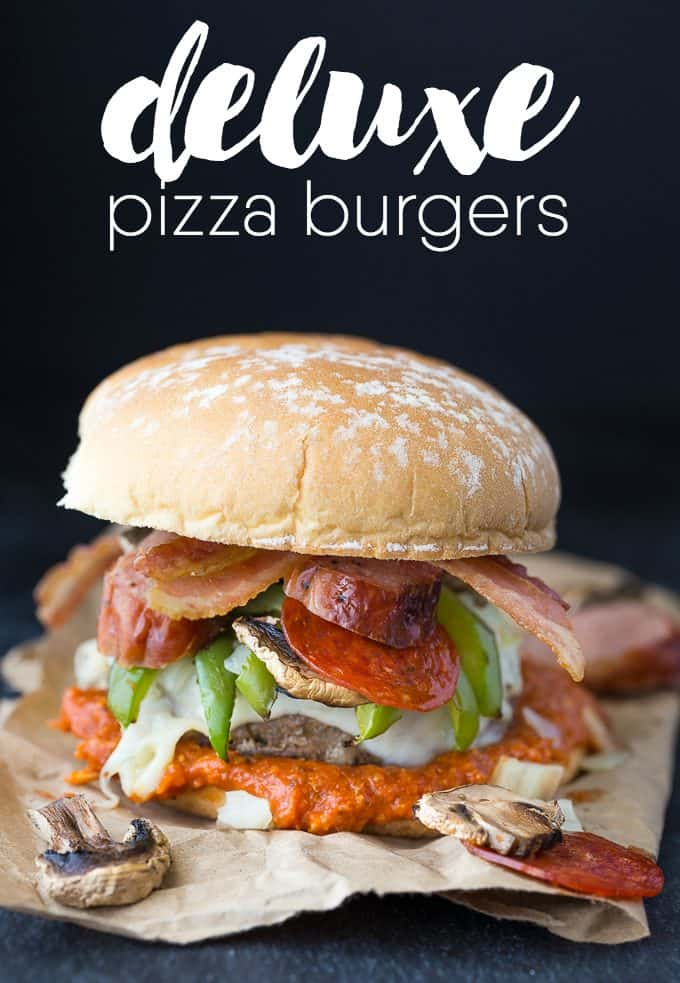 Deluxe Pizza Burgers - American classics combine for this tasty BBQ main dish! Top your cheeseburger with your favorite pizza toppings with a little marinara sauce, too.