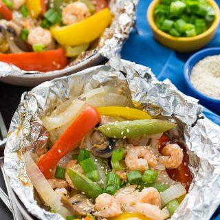 Grilled Sesame Shrimp & Veggies