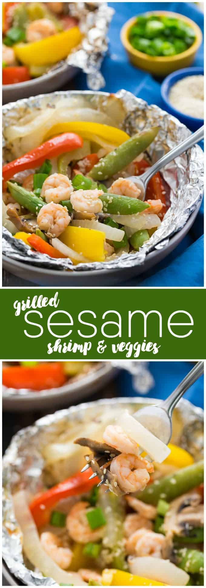 Grilled Sesame Shrimp & Veggies - This summer grilling recipe is a triple whammy - it's easy to prep, simple to cook and fast to clean up afterwards. Your family will love these individual foil packets filled with veggies, shrimp and a mouthwatering sesame sauce.