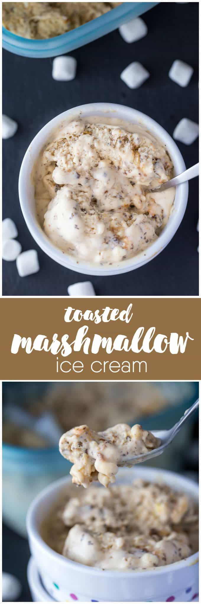 Toasted Marshmallow Ice Cream - Only THREE ingredients in this simple no-churn ice cream recipe! It's creamy, sweet and full of toasty deliciousness.