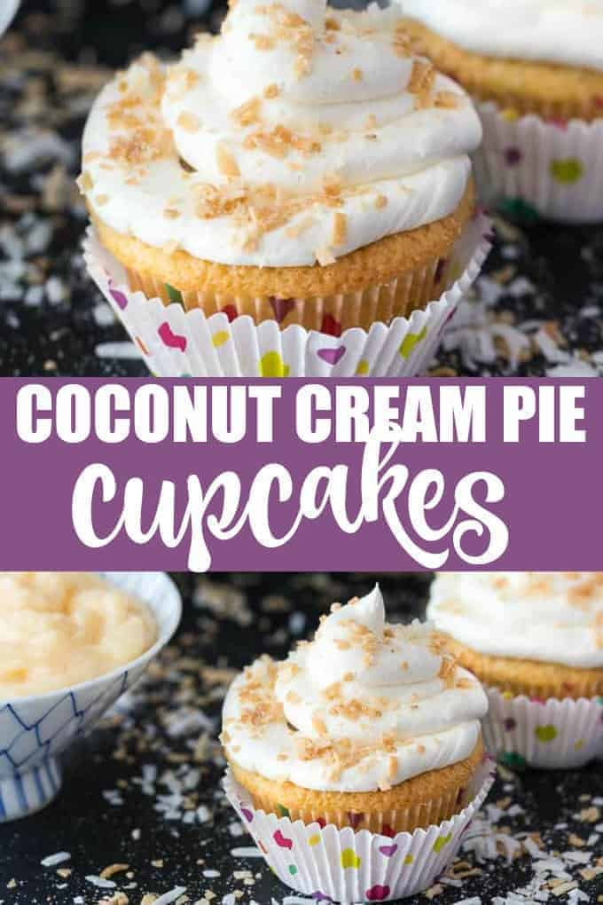 Coconut Cream Pie Cupcakes - Think Coconut Cream Pie but in a cupcake form. They have a pie crust, sweet coconut cupcake filled with a coconut cream pie pudding and topped with a beautiful coconut buttercream frosting.
