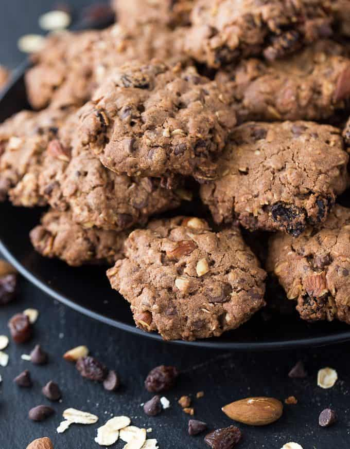 Cowboy Cookies - A rich, chewy cookie packed full of good stuff! This cookie recipe is made with oats, chocolate chips, almonds and raisins.