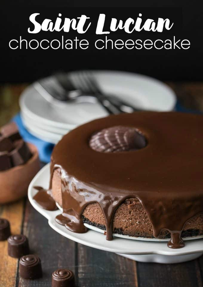 Saint Lucian Chocolate Cheesecake - Taste Saint Lucia from your own kitchen! Take a Caribbean getaway with this decadent chocolate cheesecake.