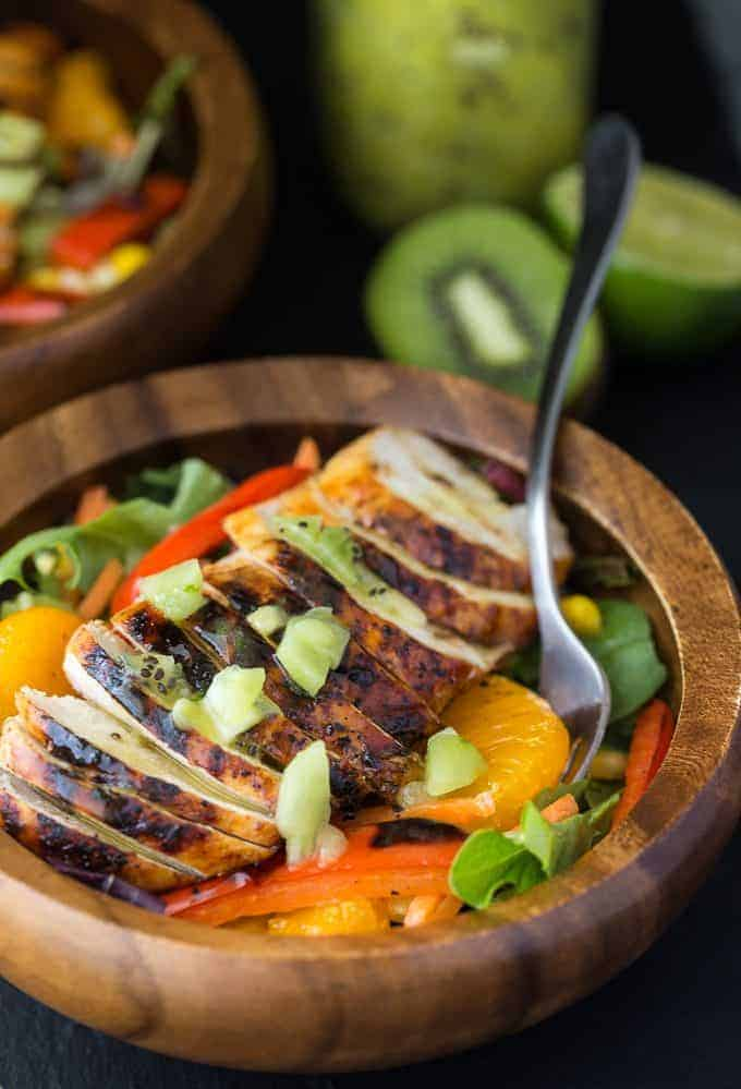 Sweet Heat Salad - A little bit of heat and a lot of sweet! This salad is vibrant, healthy and delicious. It's my version of the Sweet Heat Salad from Swiss Chalet.