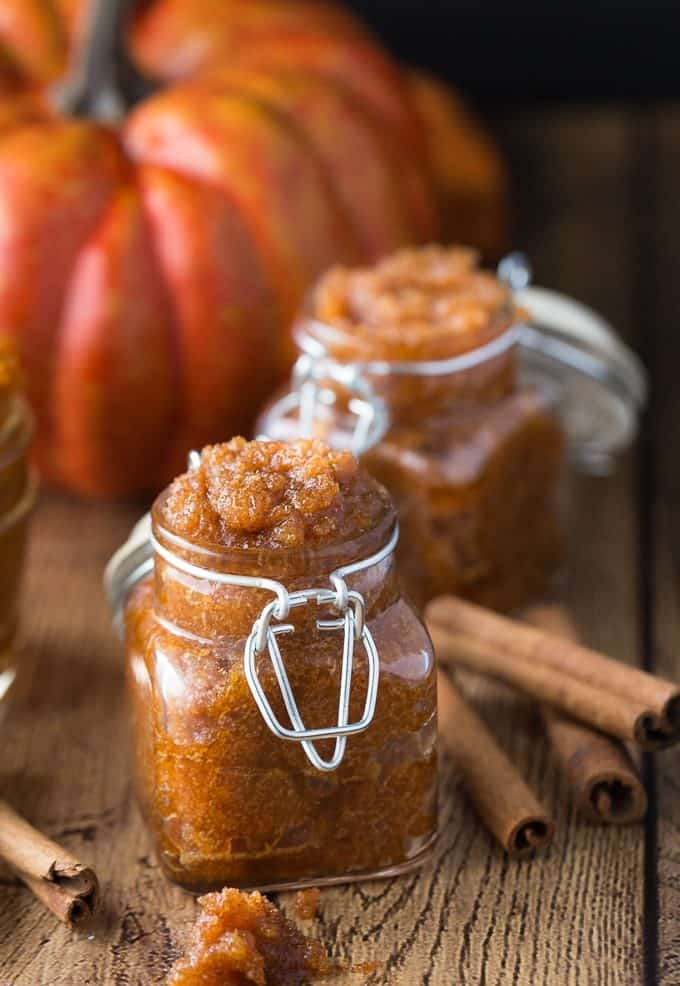 Vanilla Pumpkin Sugar Scrub - Got leftover pumpkin? Make this simple and sweet DIY beauty scrub. It feels great on your skin for exfoliating.