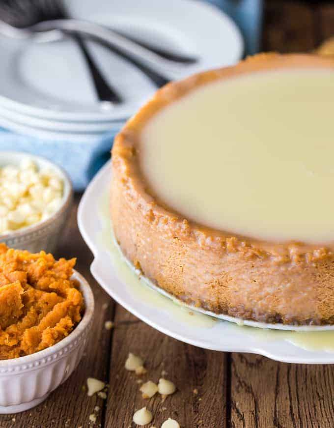 White Chocolate Pumpkin Cheesecake - Ultra smooth, creamy and perfectly rich, this cheesecake will quickly become a family favourite!