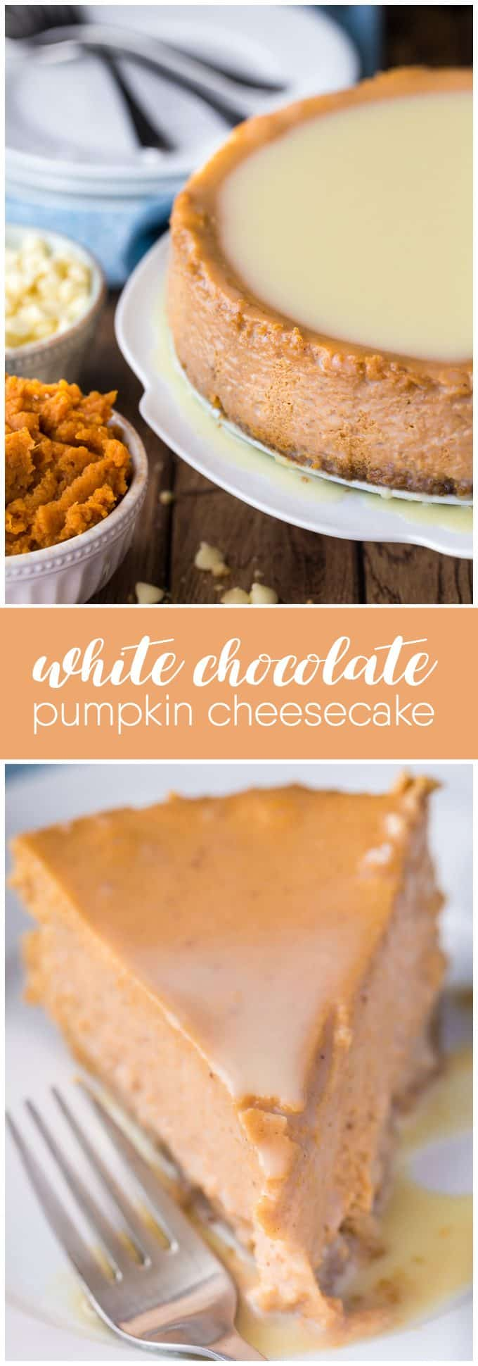 White Chocolate Pumpkin Cheesecake - The perfect fall dessert! Creamy and rich cheesecake with a pumpkin spice twist. The white chocolate glaze is the ultimate finish.
